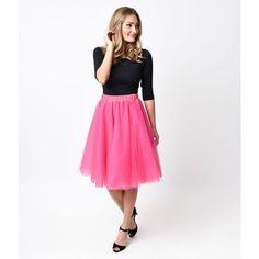 Pink High Waisted Tulle Ballerina Swing Skirt