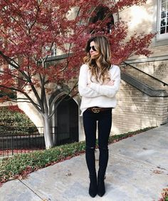 oversized comfy sweater, black jeans, black ankle booties, gucci statement belt, winter ootd
