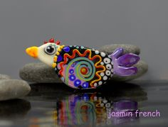 °° CHICKEN WITH NECKLACE °° lampwork bead by jasmin french