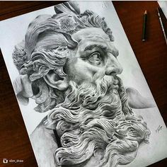 Incredible work from @slim_draw visit their page to see more fantastic art. 'Ciao!  Hyperrealistic. Neptune - Pencil ✏ [About 50 hours ] I put everything i learned in these years to create this piece. Thank you!  ' #neptune #arts_gallery #blackandwhite  #drawing #art #pencil #graphite  #sketch  #artwork #pencildrawing #portrait #illustration #love #happy #beautiful #instaart #instaartist #instamood #photooftheday #artistic_unity #art_collective #artdiscover #artsanity #arts_help…