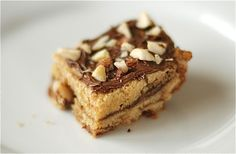 nutella blondies :D Nutella Snacks, Nutella Recipes, Snack Recipes, Dessert Recipes, Yummy Recipes, Dessert Bars, Yummy Treats, Sweet Treats, Yummy Food