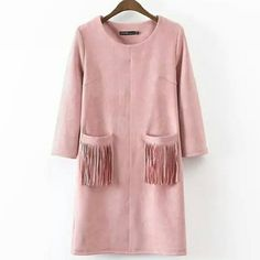 "Zara Fringe Suede Dress Beautiful and fun dress features pastel pink color, just in time for Spring. 3/4 sleeve length, scoop neck, two front pockets with fringe, 32"" total length. Brand new. Zara Dresses"