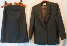 Pendleton Miss Virgin Wool Gray 12 Skirt Suit #Pendleton #SkirtSuit