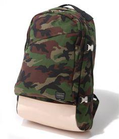 woodland camo backpack leather bottom