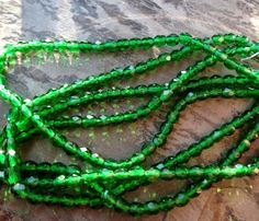 4mm Czech Glass Firepolish Rounds, Transparent Emerald, 50 Pieces per Strand by DragonflyBeadsStudio on Etsy