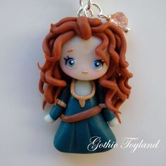 *POLYMER CLAY ~ Kawaii Cuties Sweet Merida The Brave Necklace Polymer Clay Disney Cartoon.