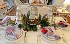 Christmas Tablescape Table Setting with Mercury-glass Christmas trees and a Deer Head Centerpiece