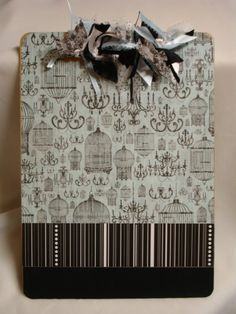 OOAK altered decorated clipboard CHANDELIERS and BIRDCAGES. $15.00, via Etsy.