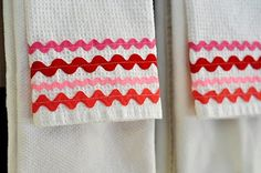 Such a clever idea!  Check out the tutorial for these simple & sweet valentines tea towels!