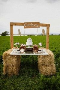 Hay bale cookie stand! great for country or fall weddings