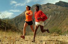 Scott Jurek and Arnulfo running what is now called Caballo Blanco Ultramarathon in Mexico.