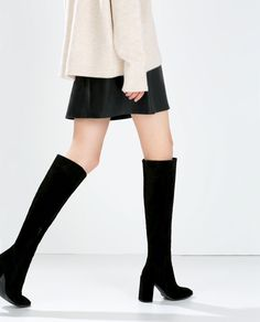 Image 3 of HIGH-HEELED LEATHER BOOT from Zara