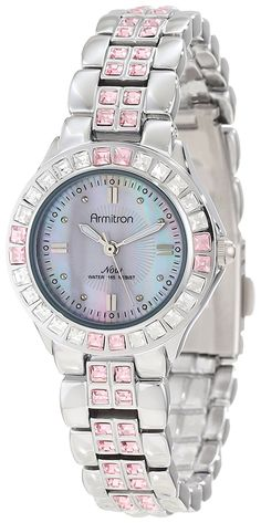 Armitron Women's 75/3689PMSV Pink Colored Swarovski Crystal Accented Silver-Tone Watch * Click image for more details.