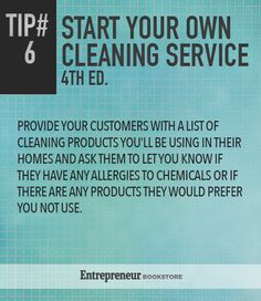 Tips To Start Your Own Cleaning Service: Provide clients with a list of the products you are using.