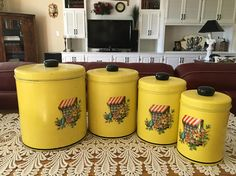 Vintage Canister Set Mid Century Yellow Floral Design