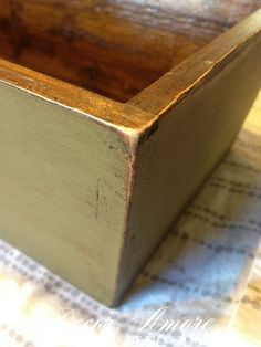 Experimenting With Chalk Paint and Stain - I painted a small wooden box with Annie Sloan Olive Chalk Paint and followed with stain instead of dark wax to age it…