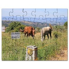 Horses and shell sign, El Camino, Spain Puzzle on CafePress.com