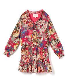 Another great find on #zulily! Fuchsia Floral Peasant Dress - Girls #zulilyfinds