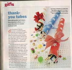 Thank You Tubes from Family Fun Magazine December 2008 issue Family Fun Magazine, Christmas Crafts, Christmas Ornaments, Thank You Notes, Activities For Kids, December, Goodies, Thankful, Classroom