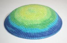 kippah green blue by crochetkippah on Etsy