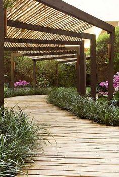40 Ideas For Pergola Patio Landscaping Shade Structure Garden Structures, Garden Paths, Outdoor Structures, Walkway Garden, Garden Pool, Outdoor Walkway, Water Garden, Outdoor Rooms, Outdoor Gardens