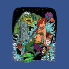 Awesome 'Mermaid+Wars' design on TeePublic! - IN A WORLD where mermaids are enslaved by their slug-like slave masters, ONE tiny mermaid and her goofy robot friends must form a rebellious alliance to rescue her prince from an eternal carbonite prison! (SciFi Tshirts)