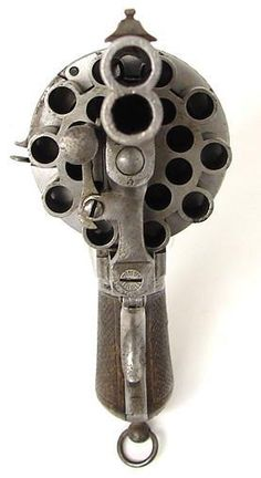 Rare 20-Shot Engraved Pinfire revolver with double barrels by Le Faucheux, Paris