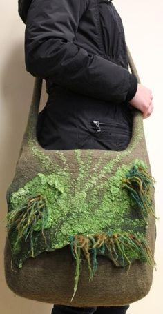 Wet felted messenger bag by imelda Textiles, Needle Felting Tutorials, Felt Purse, Wool Art, Art Bag, Felted Slippers, Felt Fabric, Nuno Felting, Felt Art