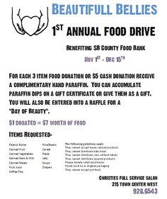 FIRST ANNUAL FOOD DRIVE 2011