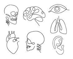 One line human organs set design silhouette.- One line human organs set design silhouette. Hand drawn minimalism s… One line human organs set design silhouette. Line Tattoos, Small Tattoos, One Line Tattoo, Tatoos, Art Tattoos, Harry Potter Kunst, Silhouette Logo, Logo Design, Set Design