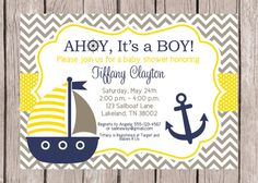 PRINTABLE Sailboat Baby Shower Invitation / by ciaobambino on Etsy