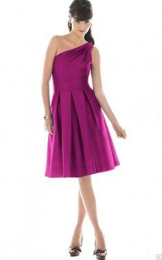 Sleeveless Zipper One Shoulder Knee-length Satin Bridesmaid Dresses