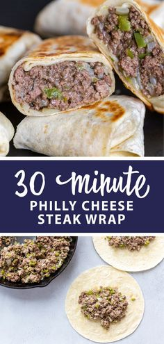 Philly cheese steak wrap, an easy, recipe. Great dinner for the whole family. Philly cheese steak wrap, an easy, recipe. Great dinner for the whole family. Steak Wraps, Meat Appetizers, Appetizer Recipes, Good Healthy Recipes, Healthy Foods To Eat, Healthy Eating, Healthy Snacks, Philly Cheese Steaks, Philly Cheese Steak Seasoning