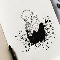 I'm not perfect muslim, but i'm trying. Girly Drawings, Pencil Art Drawings, Cartoon Drawings, Cartoon Art, Art Sketches, Cartoon Memes, Cartoon Characters, Hijab Drawing, Cartoon Profile Pics