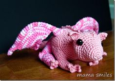 Dragon crocheted using a pattern from Itsy Bitsy Spider Crochet