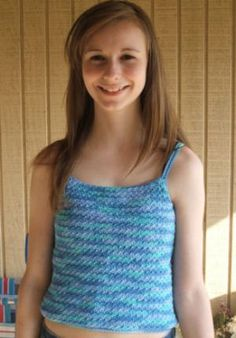 """Easy Camisole crochet pattern by Kim Guzman. Instructions are written for size Extra Small (up to 28"""" chest), with Small (up to 32"""" chest), Medium (up to 36"""" chest) and Large (up to 40"""" chest) written in parentheses."""