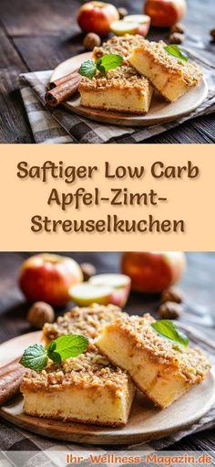 Rezept für einen Low Carb Apfel-Zimt-Streuselkuchen: Der kohlenhydratarme, kalorienreduzierte Kuchen wird ohne Zucker und Getreidemehl zubereitet ... #lowcarb #Kuchen #backen