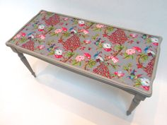 Victorian meets the Orient Shabby Chic Upcycled Coffee Table with Colourful Fabric and Grey Paint Furniture Projects, Diy Furniture, Upcycled Furniture Before And After, Diy Desk, Grey Paint, Rustic Feel, Pink Fabric, Fabric Covered, Painted Furniture