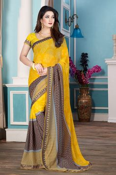 Beige Yellow Georgette Saree with Art Silk Blouse  Price:-£29.00 New arrival Beige Yellow Georgette Saree with Art Silk Blouse and Printed Pallu, Round Neck Blouse, Short Sleeve. This is prefect for party wear, wedding, festival, casual, ceremonial. These designs are presented by Andaaz Fashion  http://www.andaazfashion.co.uk/beige-yellow-georgette-saree-with-art-silk-blouse-dmv7834.html