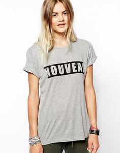 Enlarge ASOS Boyfriend T-Shirt with Nouveau Print in Rib