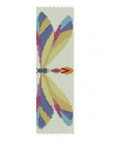 Dragonfly Peyote Pattern - peyote cuff pattern - Buy two patterns and get the third one for free.