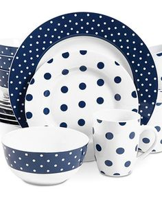 Isaac Mizrahi - Isaac Mizrahi Dot Luxe Navy Blue Dinnerware Set - This bold ceramic dinnerware set features a fun polka-dot pattern consisting of navy blue and white. Dishwasher and microwave safe,the set includes plates,bowls and mugs. Casual Dinnerware, Modern Dinnerware, Porcelain Dinnerware, Gibson Dinnerware, Dish Sets, Dinner Sets, Dinner Ware, China Patterns, Navy And White