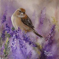 Pássaro e flor roxa