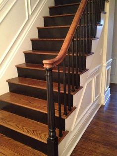 34 Painted Staircase Ideas which Make Your Stairs Look New - Treppen renovieren - stairs makeover - Escadas New Staircase, Staircase Remodel, Staircase Design, Staircase Ideas, Staircase Decoration, Stair Design, Stairway Paint Ideas, Stair Idea, Rustic Staircase