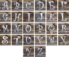 Curlz Font Steel Letter A B C D E F G H I J K by langleymetalworks