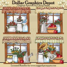 Prim Country Windows - Clip Art - $1.00 : Dollar Graphics Depot, Quality Graphics ~ Discount Prices
