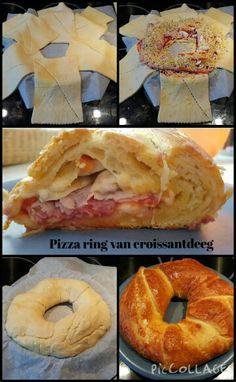 Pizza ring van croissantdeeg