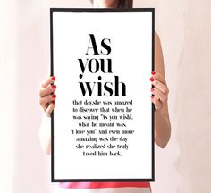 As You Wish  typography art the princess bride by mixarthouse