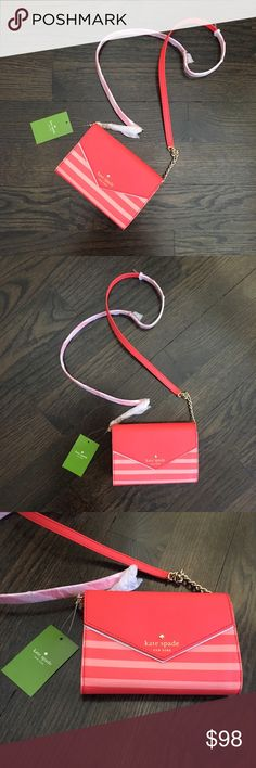 NWT Kate Spade Striped Red & Pink Crossbody Bag Brand new! Authentic Kate Spade striped leather crossbody bag. Snap closure. Interior has 3 cc slots. Strap has a 23 inch drop. 6 3/4 x 1 x 4 1/2. ❣️No Trades❣️ kate spade Bags Crossbody Bags