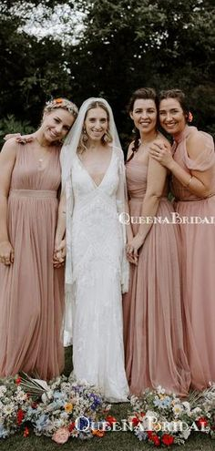 Newest Hot Selling Mismatched Pink Tulle A-line Long Cheap Wedding Party Bridesmaid Dresses, Champagne Bridesmaid Dresses, Elegant Bridesmaid Dresses, Wedding Party Dresses, Pink Tulle, Dress Backs, Dream Dress, Wedding Designs, Dress Making, Bridal